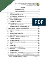 Indice Diseño de Albañileria Confinada de Una Vivienda de Cuatro Pisos