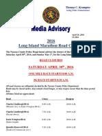 2016 Long Island Marathon Road Closures