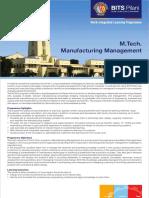 M.tech. Manufacturing Management