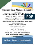 Paca Community Night Flyer 2016