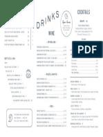 The Darling Brunch Cocktail Menu