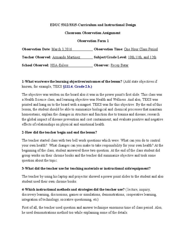 classroom observation assignment-form 1 recep batar   Teachers
