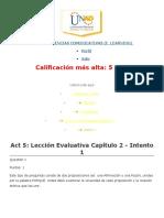 Act 5 Lección Evaluativa Capítulo 2 - Intento 1
