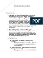 multimedia project summary sheet