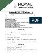 Xi - Physics - Terminal Examination - II