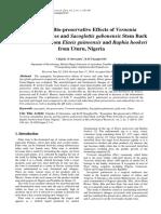 Synergistic Bio-preservative Effects Vernonia Leaves c.e Onwuakor and k.m Ukaegbu-obi