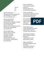 Lyrics - Sous Le Ciel De Paris