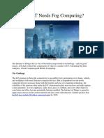 Why IoT Needs Fog Computing