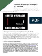 8 Mitos y Verdades Sobre Las Baterías