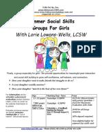 Summer 2016 Girls Social Skills Groups Flyer