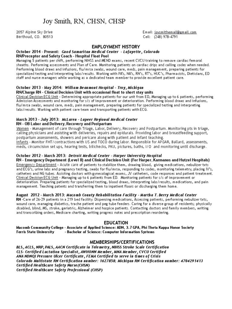 Joys resume may2016 patient emergency department xflitez Images