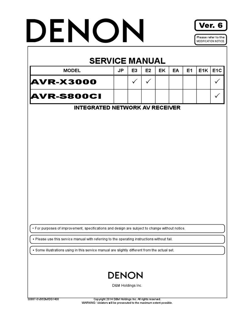 Denon - AVR-X3000,AVR-S800CI.pdf   Hdmi   Electrical Connector