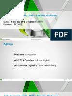 AU2015 Speaker Welcome Webcast