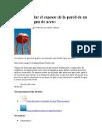 Cómo Calcular El Espesor de La Pared de Un Tanque de Agua de Acero