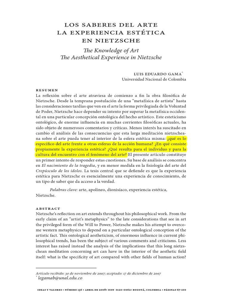 Los Saberes Del Arte. La Experiencia Estética en Nietzsche
