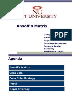 Final Ansoff's Matrix_v1 ppt | Coca Cola | Pepsi