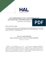 Gouvernace Et Qualité de l'Inf