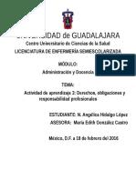 Actividad de Aprendizaje 3 Derechos, Obligaciones y Responsabilidad Profesionales