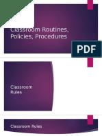 classroom routines policies procedures