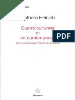 Natalie Heinich-Guerre Culturelle Et Art Contemporain _ Une Comparaison Franco-Américaine