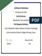 resiliency certificate tucson
