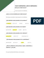 Cuestionario de Macro Nutrimentos y Micro Nutrimentos