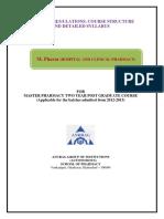 M Pharm Hospital and Clinical Pharmacy Syllabus