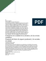 Evaluación de La Calidad de Los Artículos y de Las Revistas Científicas
