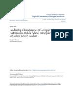 Leadership Characteristics of Georgia High Performance Middle Sch