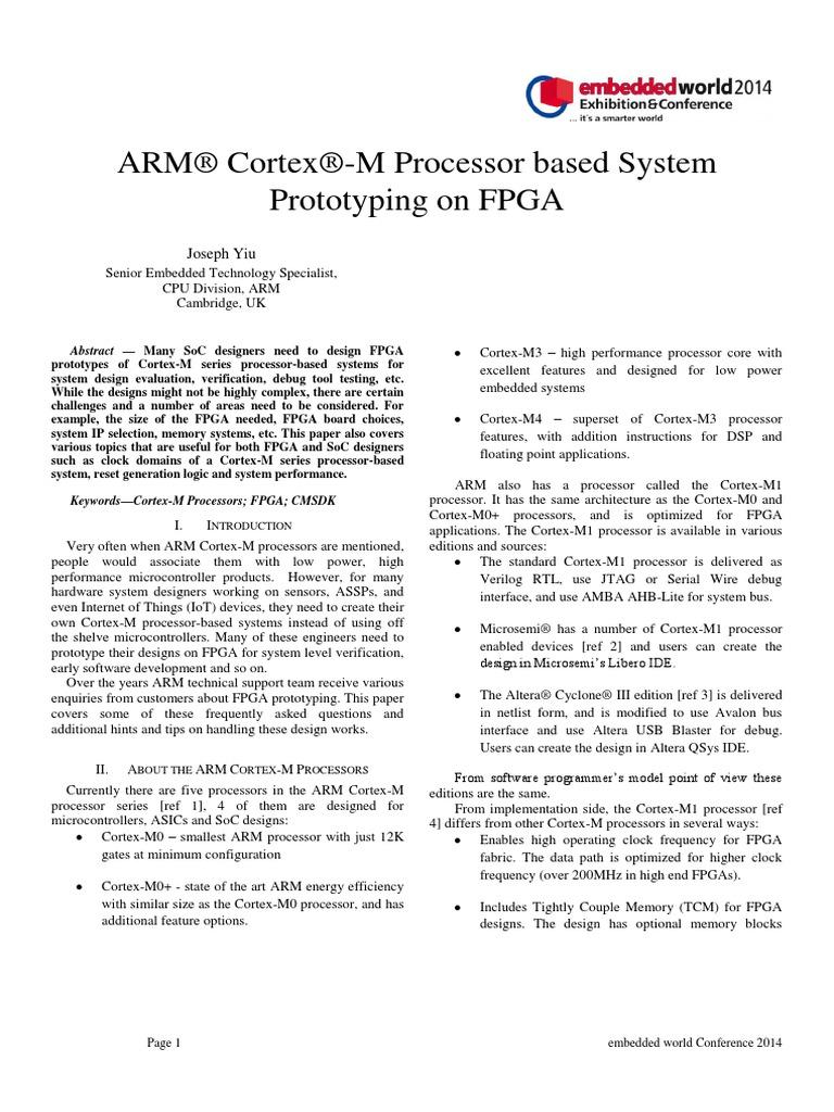 Yiu - Cortex-M Processor Based System Prototyping on FPGA | Field