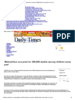 'Malnutrition Accounts for 300,000 Deaths Among Children Every Year'