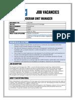 Job Advertisement - Program Unit Manager_Mindanao