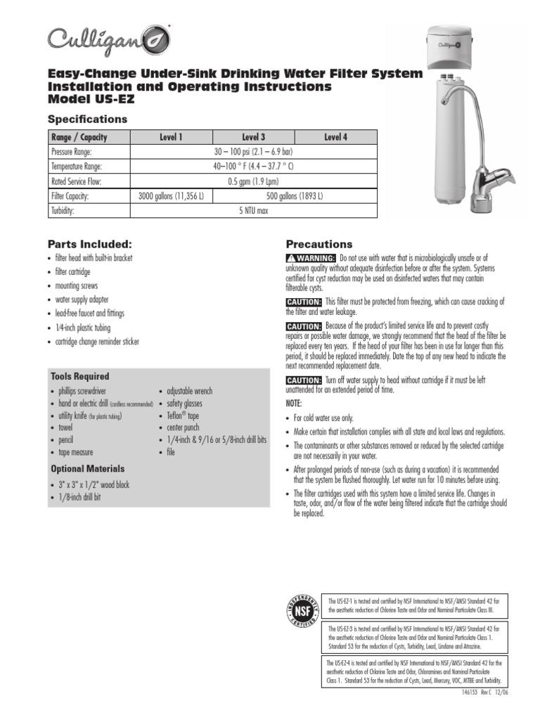 Culligan us-ez-4 level 4 easy-change undersink filter system.