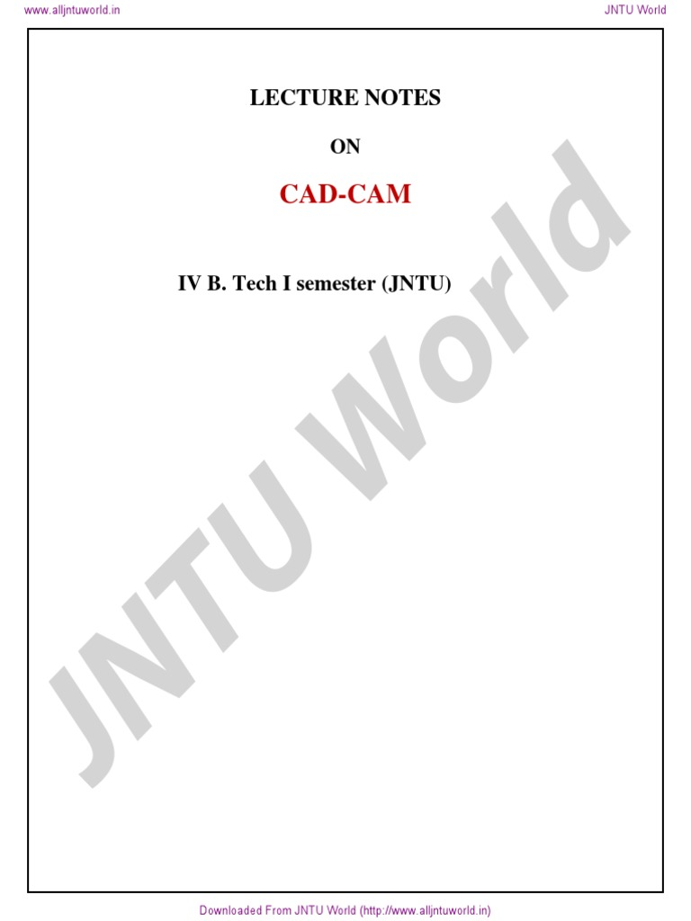 JNTU World: Cad-Cam