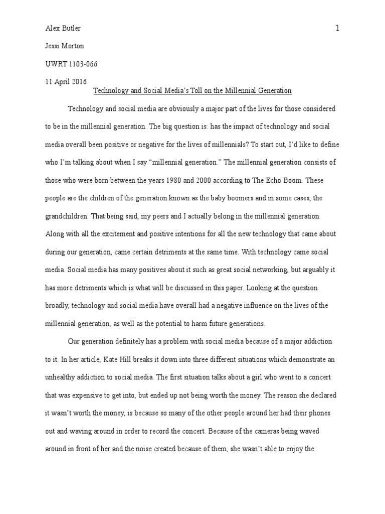 Technology and social media argumentative essay uwrt 1103