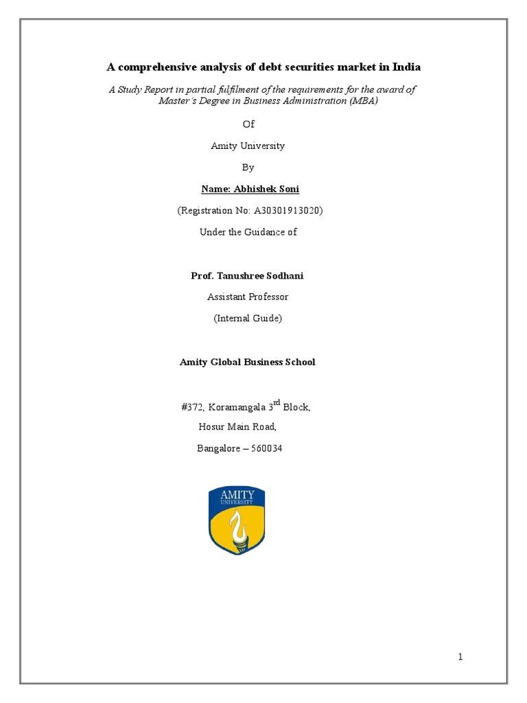 dissertation on debt securities market in india bonds finance