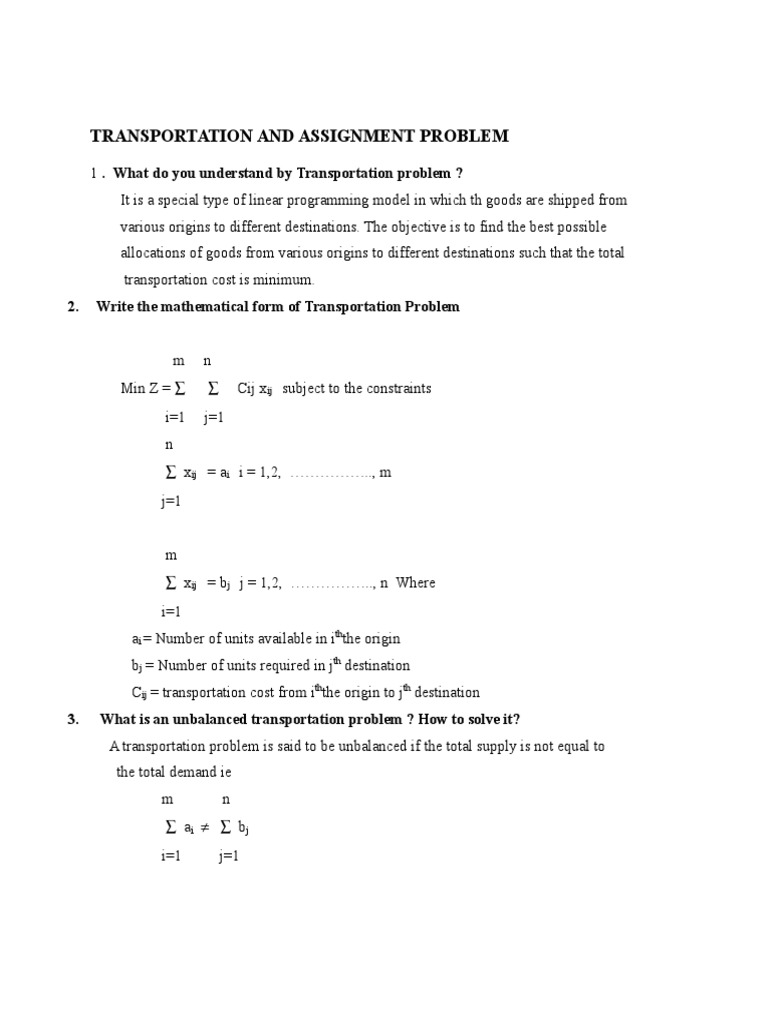 Transportaion Problem - 2 Marks and 16 Marks Questions