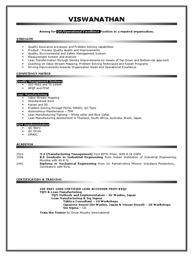 Resume leanc lean manufacturing quality assurance 1betcityfo Gallery