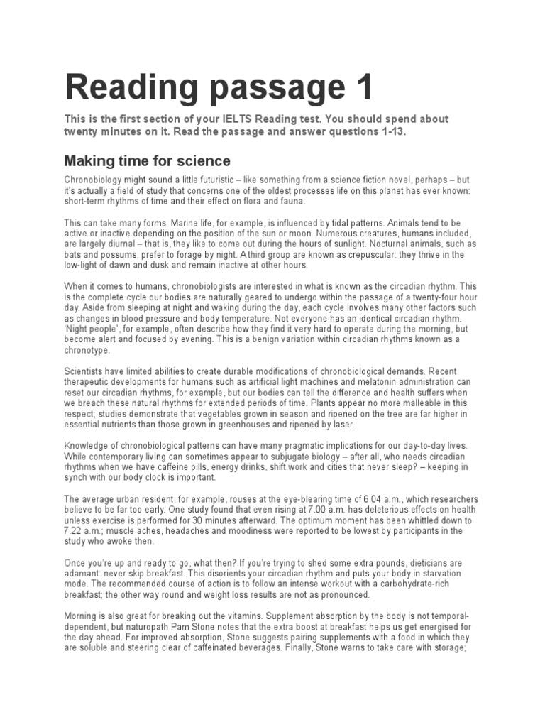 Ielts Reading Passage | Helium | Circadian Rhythm