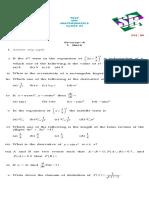 Class Xi Maths Test