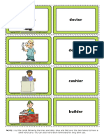 Jobs Esl Vocabulary Game Cards for Kids