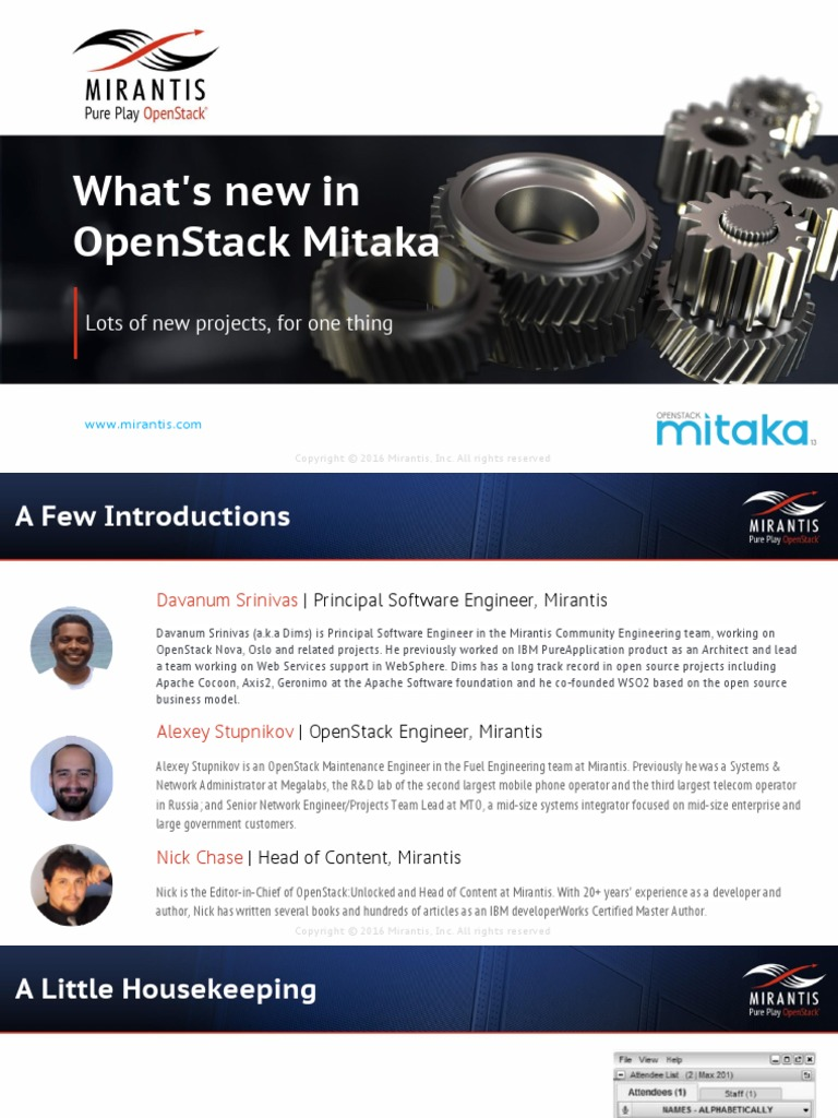 Openstack Mitaka Webcast Slides | Open Stack | Information