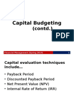 Capital Budgeting (Cont.)