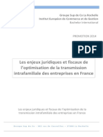 Lesenjeuxjuridiquesetfiscauxde l'optimisationdelatransmission intrafamilialedesentreprisesenFrance