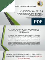 Clasificacion de los yac. minerales