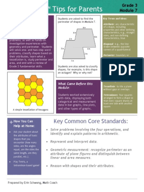 eureka math grade 3 module 7 parent tip sheet | Area | Shape