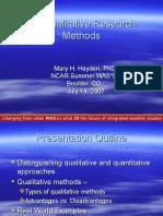 Qualitative Research Methods -- Hayden