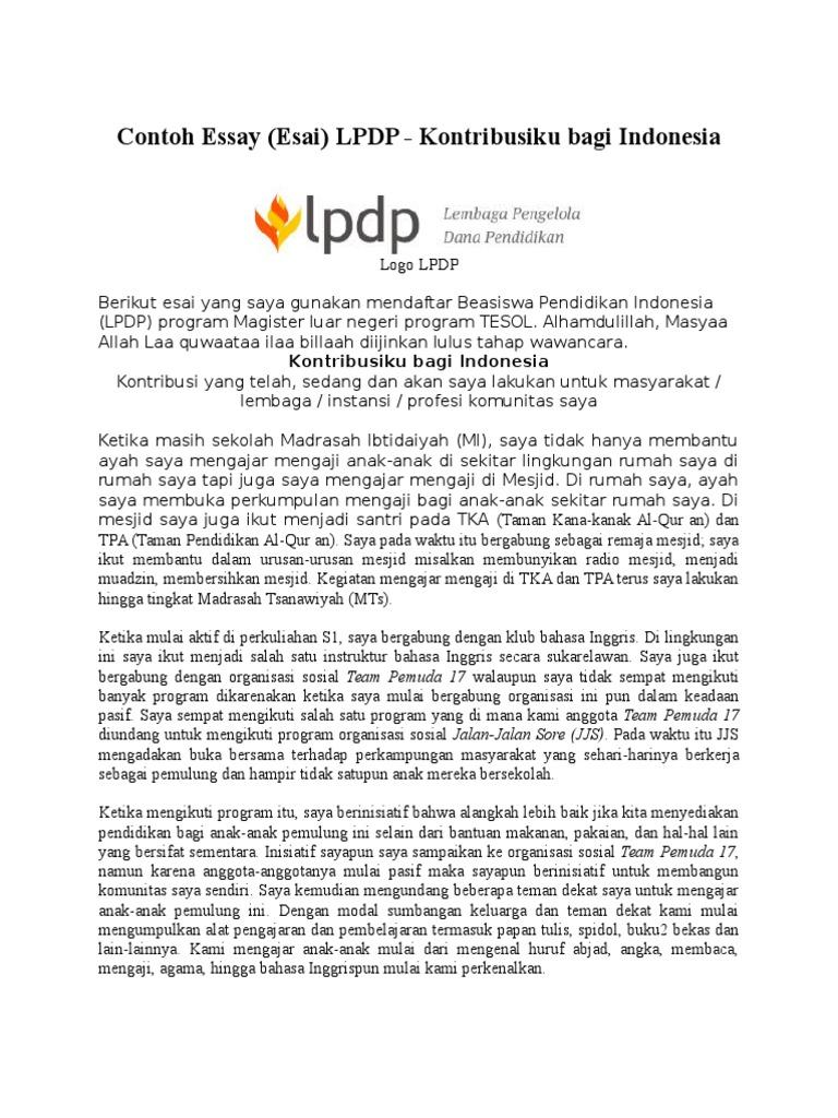 contoh essay peranku bagi indonesia beasiswa lpdp