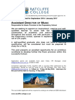 Ratcliffe College Preparatory School%2c Assist Director of Music Sept 16