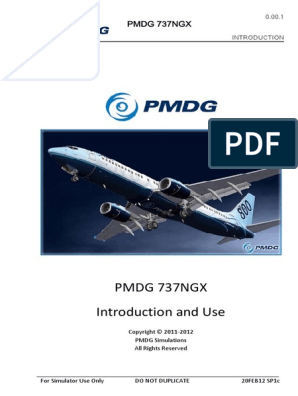 PMDG-737NGX-Introduction pdf   Simulation   Computer File